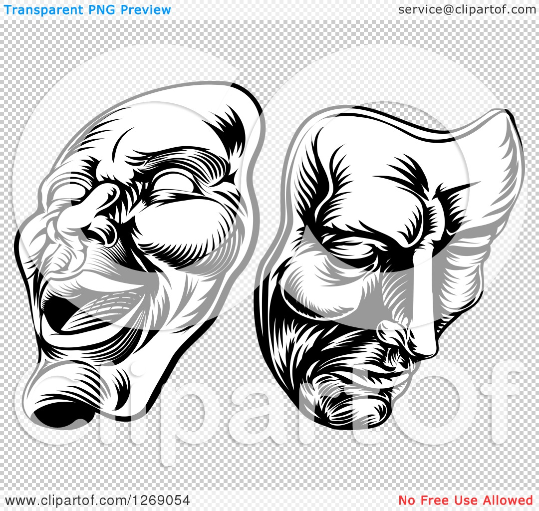 Clipart of Black and White Woodcut Comedy and Tragedy ...