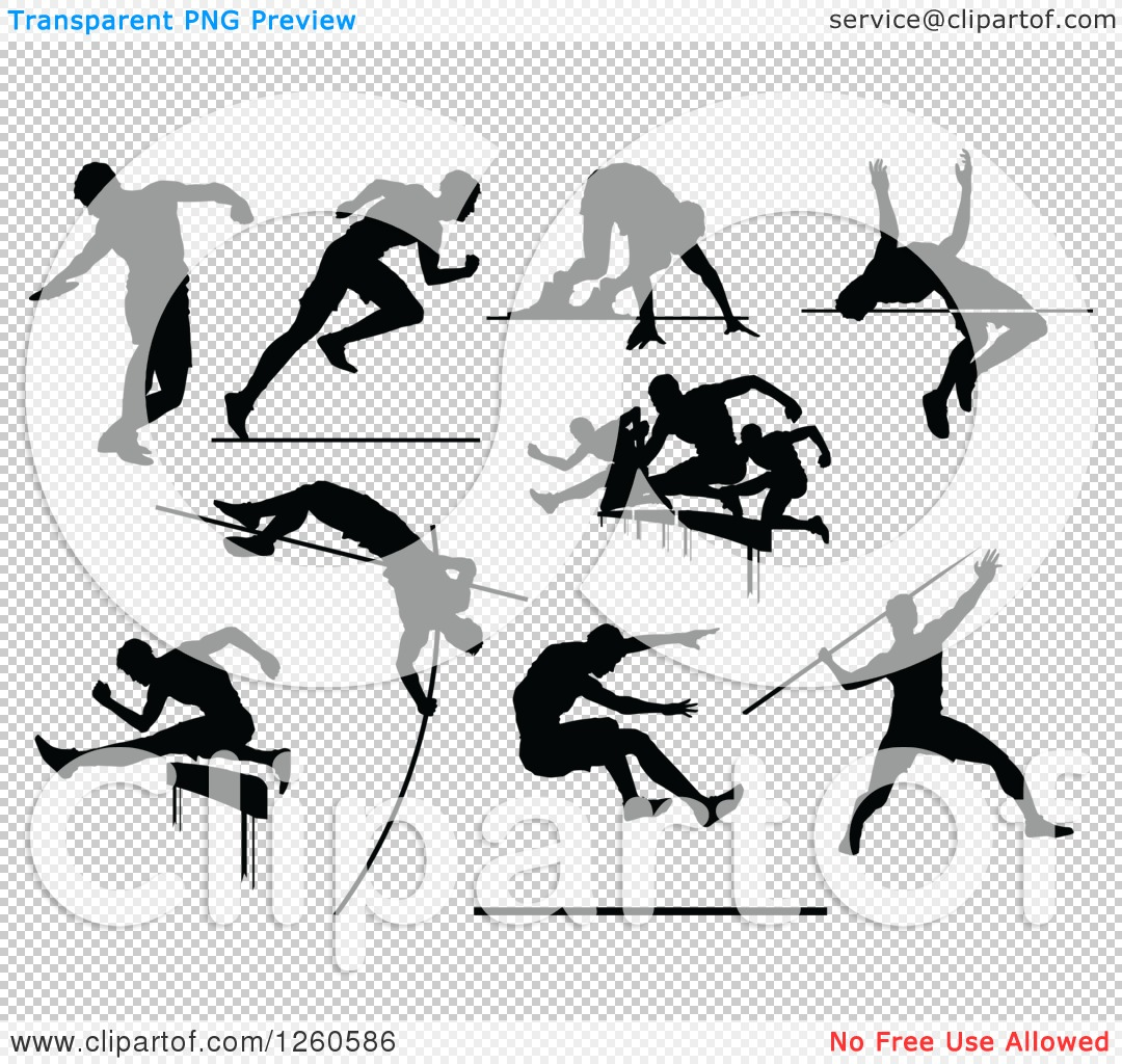 clipart of black silhouetted male track and field athletes free track and field images clip art Track and Field Clip Art Black and White
