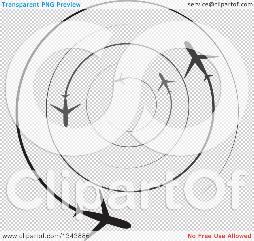 Clipart of Circling Silhouetted Jets with Trails - Royalty Free ...