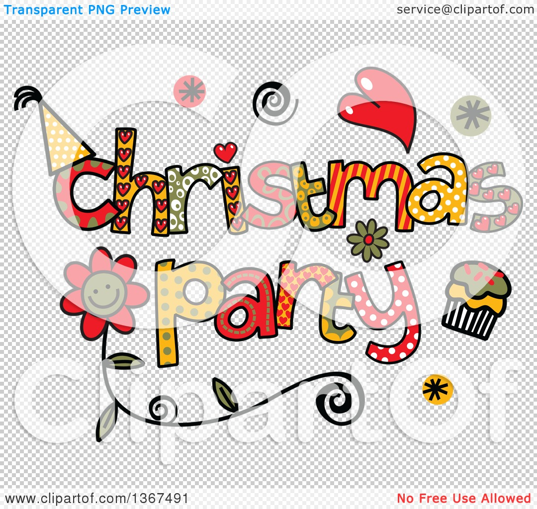 Christmas Party Pictures Clip Art.Clipart Of Colorful Sketched Christmas Party Word Art Royalty Free