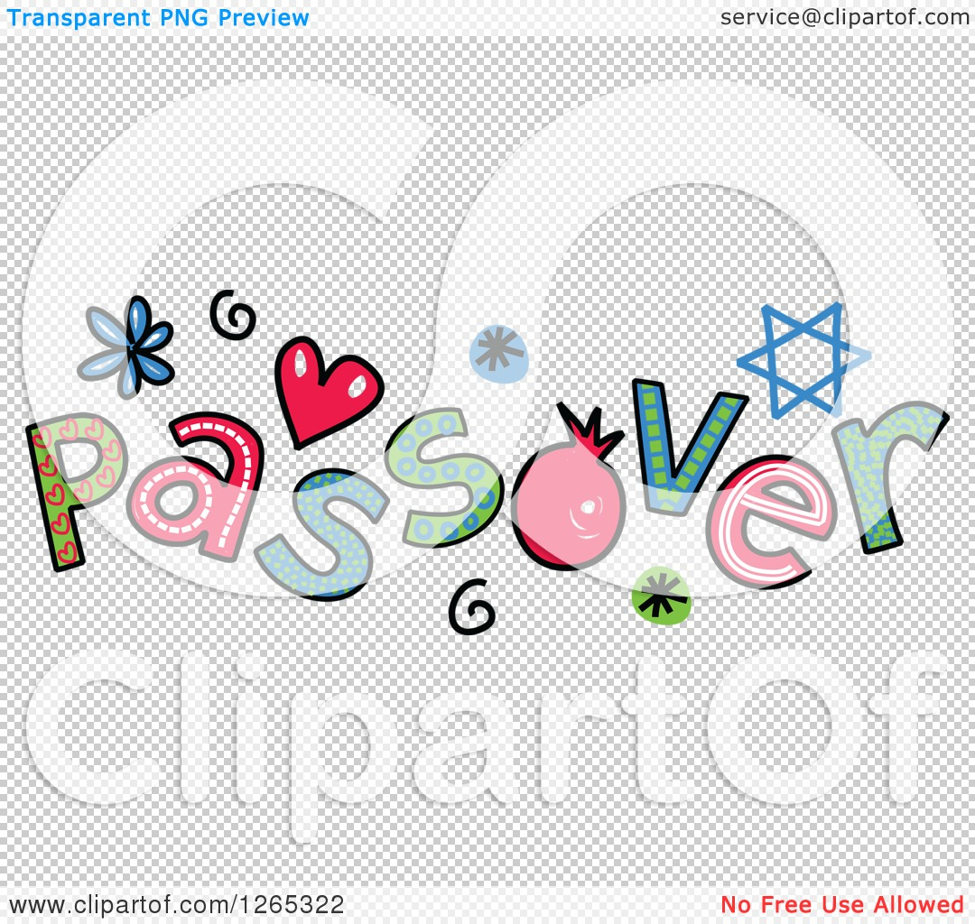 Clipart of Colorful Sketched Passover Text - Royalty Free Vector ...