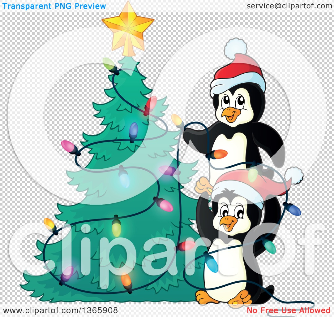 clipart of cute penguins putting lights on a christmas tree