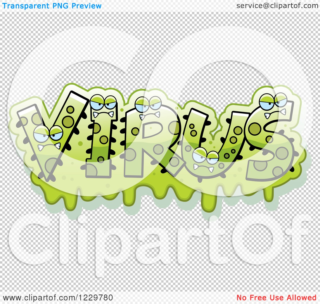 Viral Word: Clipart Of Green Snotty Monsters Forming The Word Virus