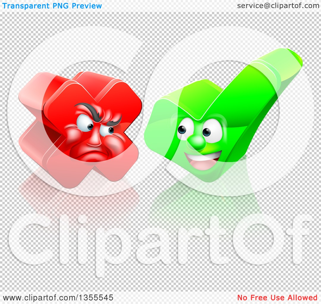 Clipart of Happy Check Mark and Mad X Mark Characters - Royalty ...