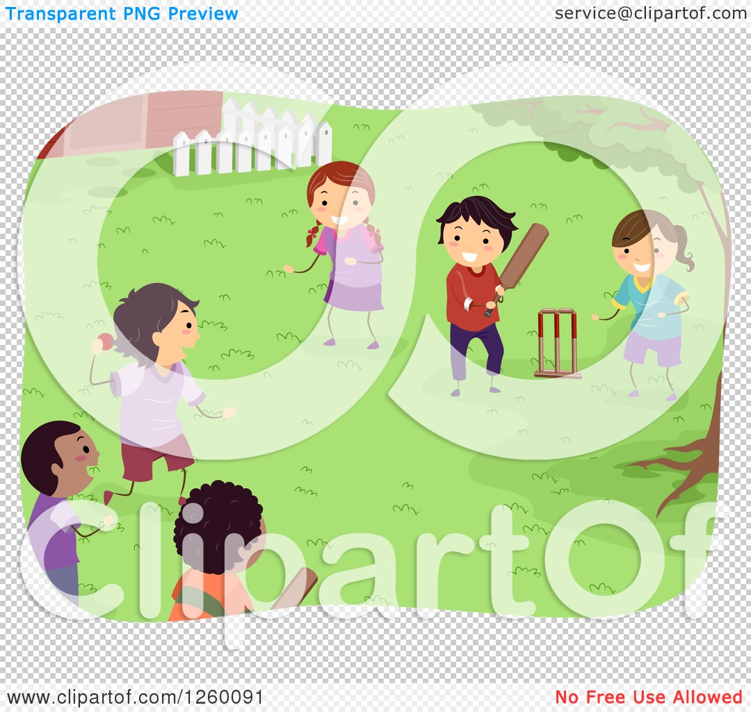 Clipart of Happy Children Playing Cricket in a Yard ...