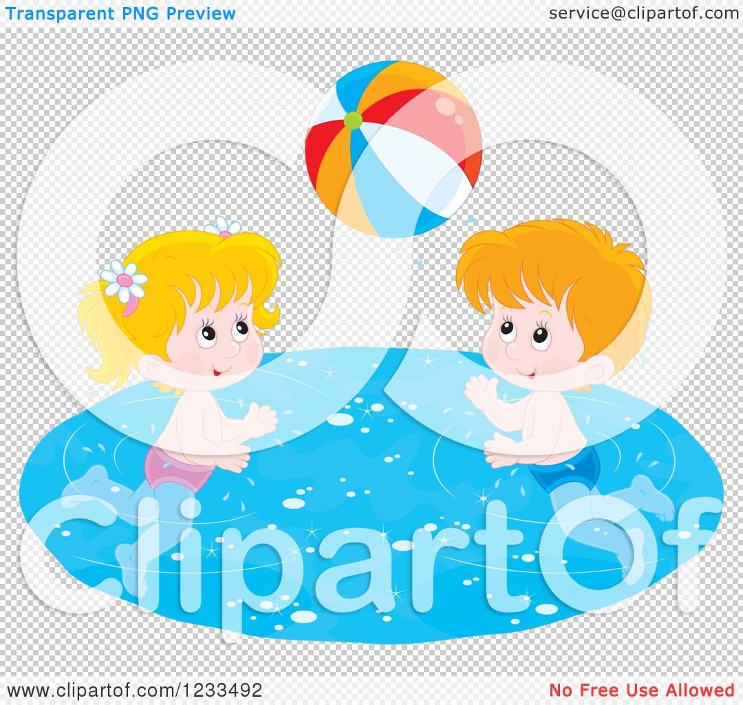 Swimming Pool Beach Ball Background clipart of happy white children playing with a beach ball in a