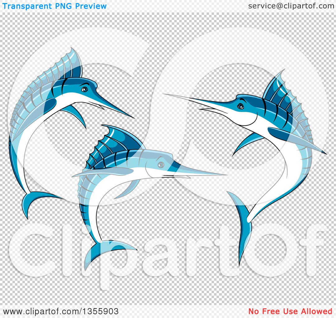 Clipart of Jumping Blue Marlin Fish - Royalty Free Vector ...