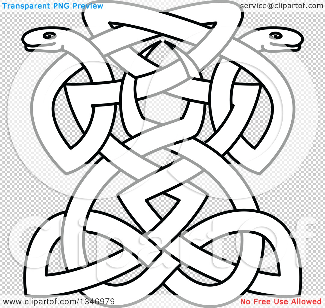 Clipart of Lineart Celtic Knot Snakes 2 - Royalty Free Vector ...