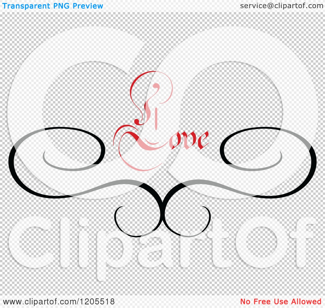 clipart of red love text and swirls