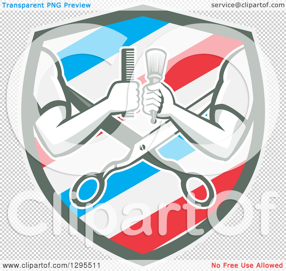 Clipart of Retro Barber Arms Holding a Brush and Comb over ...