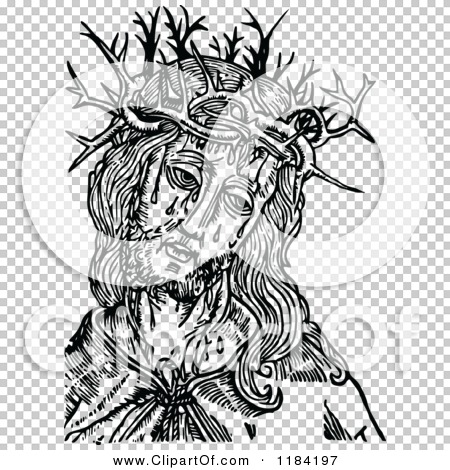 Clipart of Retro Vintage Black and White Jesus Christ and Crown of ...