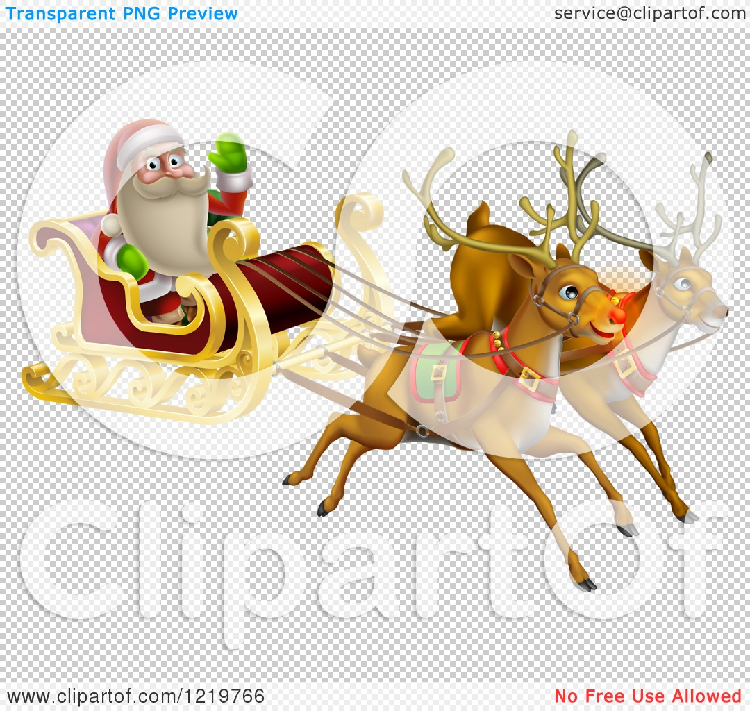 Clipart of Santa Waving and Flying in a Magic Sleigh with Two ...