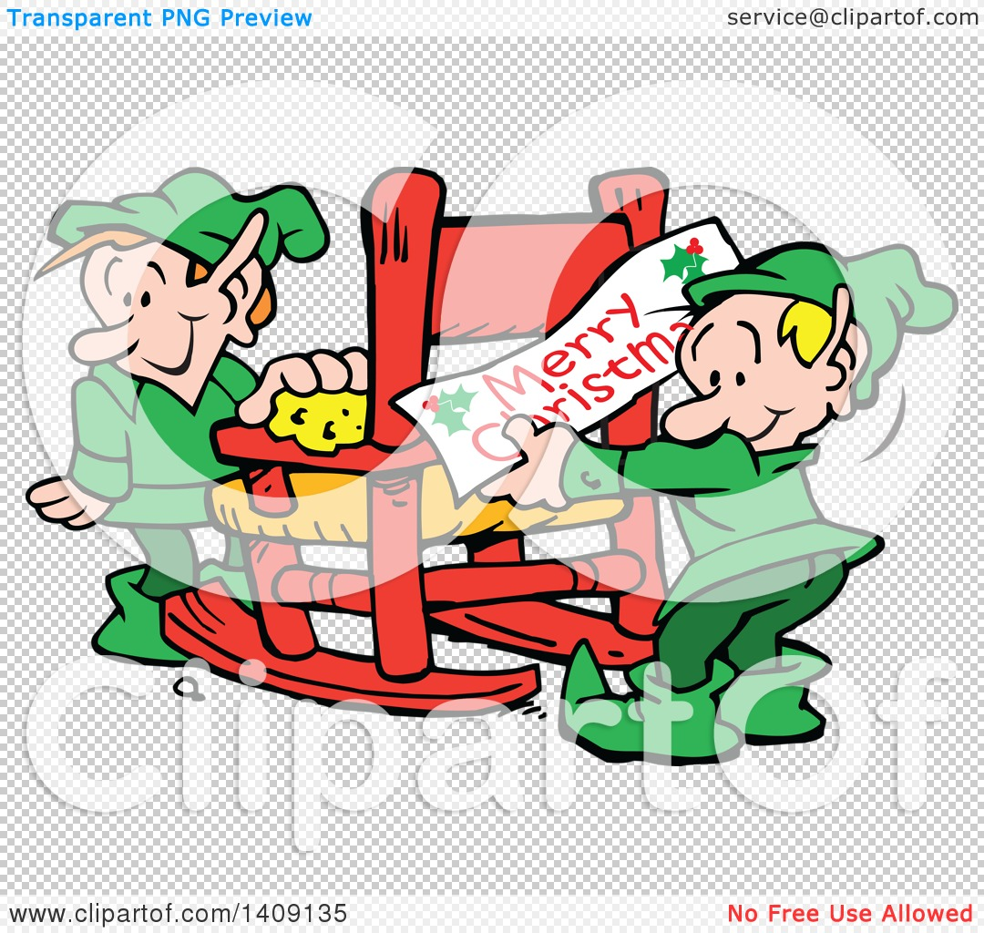 Clipart of Santas Helper Christmas Elves Decorating and Cleaning a ...