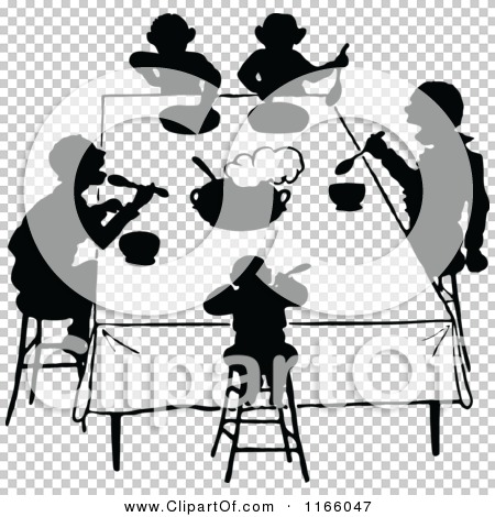 Clipart of Silhouetted People Eating at a Table - Royalty Free ...