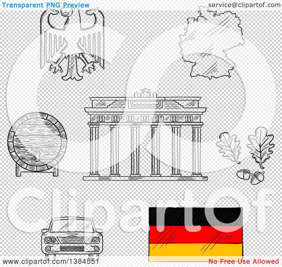clipart of sketched germany icons with map and flag eagle emblem