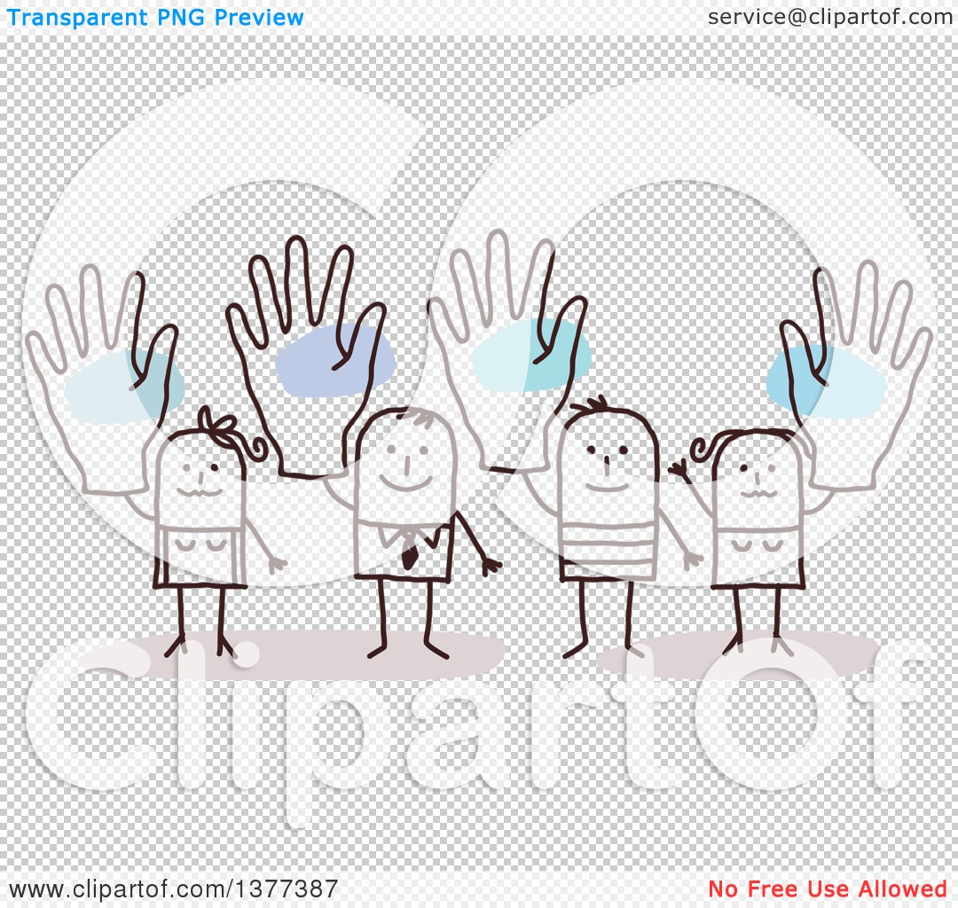 Clipart of Stick Men and Women Holding up Big Hands - Royalty Free ...