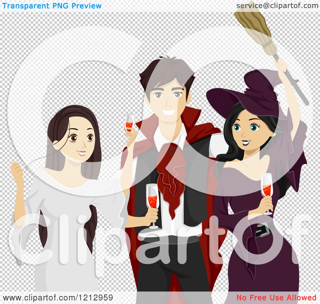 Clipart of Teenagers Toasting at a Halloween Party - Royalty Free ...