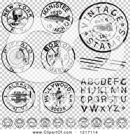 Clipart Of Vintage Black And White Postmark Stamps Letters