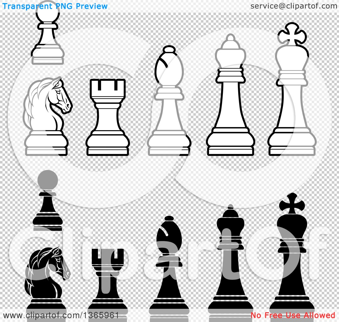 Clipart of White and Black Chess Pieces - Royalty Free Vector ...