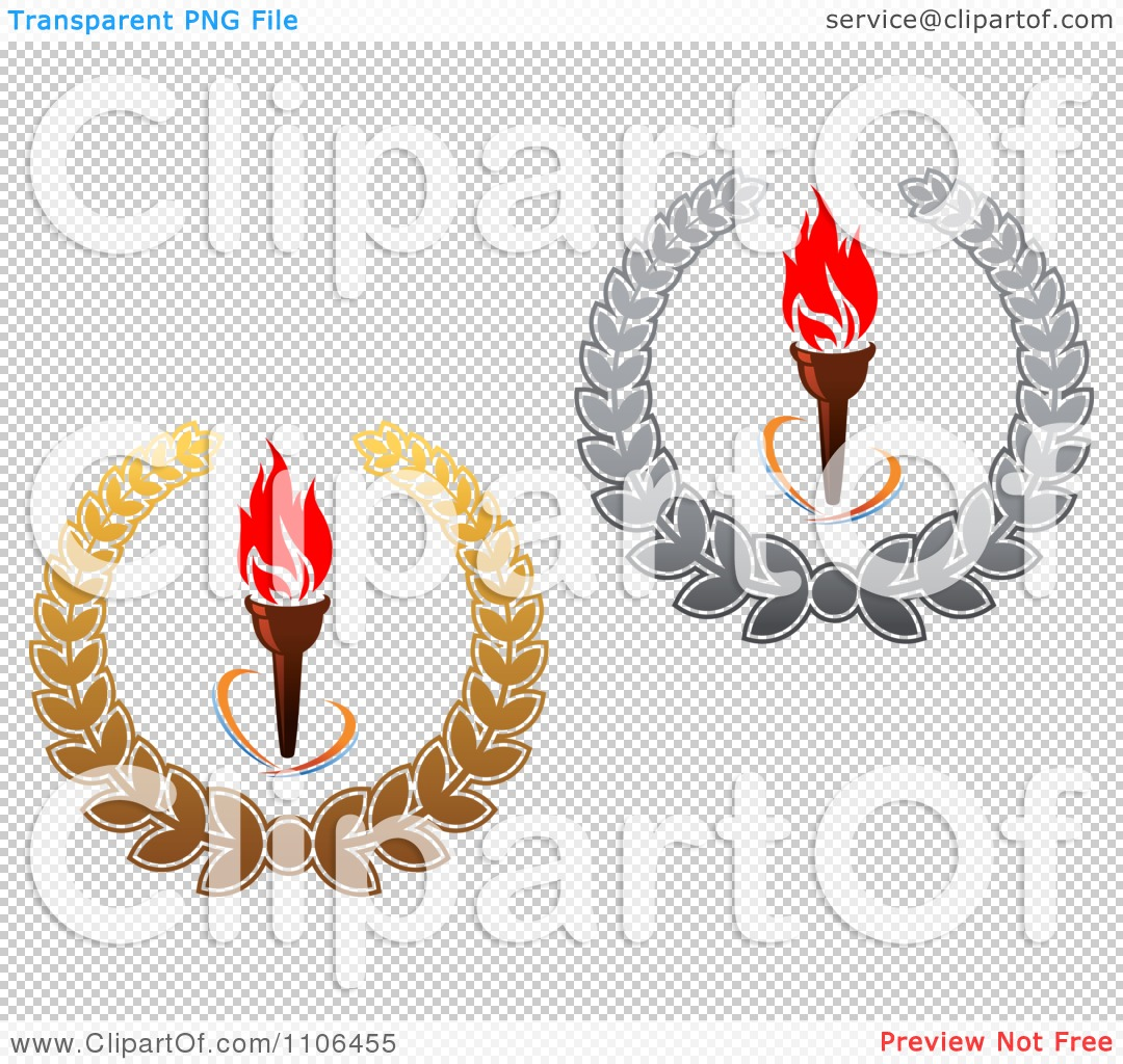 Clipart Olympic Torches With Red Flames And Gold And Silver ...