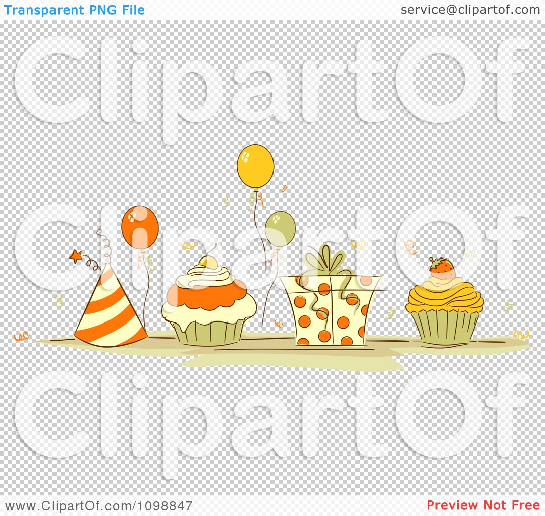 Clipart Orange And Beige Party Hats Balloons Cupcakes And