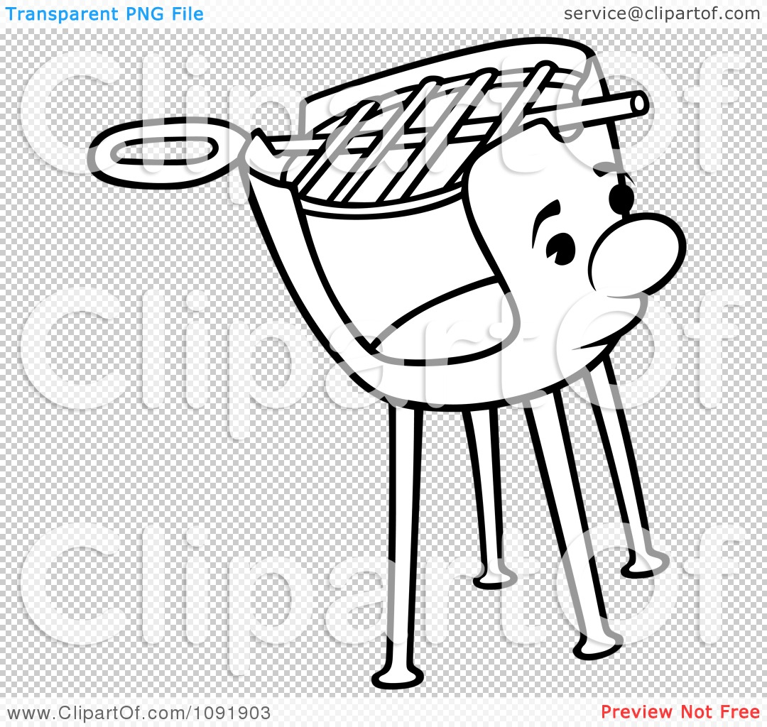 Clipart Outline Of A Charcoal Grill Character - Royalty Free ...