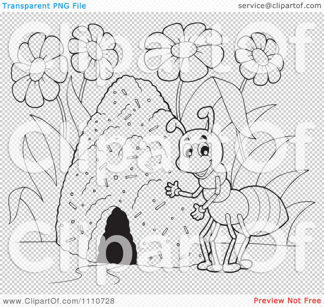 clipart outlined ant by a hill royalty free vector illustration