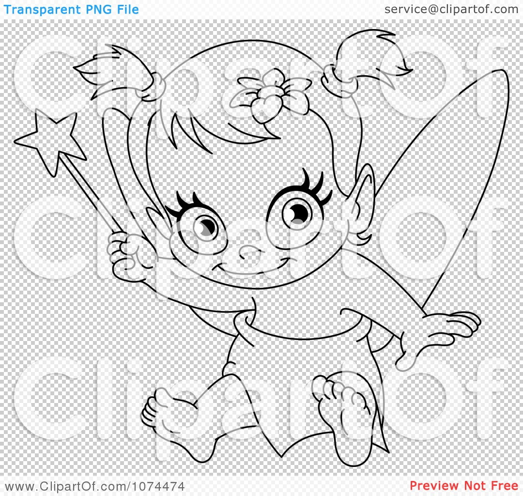 Clipart Outlined Baby Fairy Holding Up A Wand - Royalty Free ...