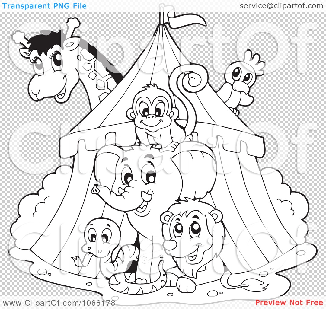 clipart outlined big top circus tent and animals royalty free