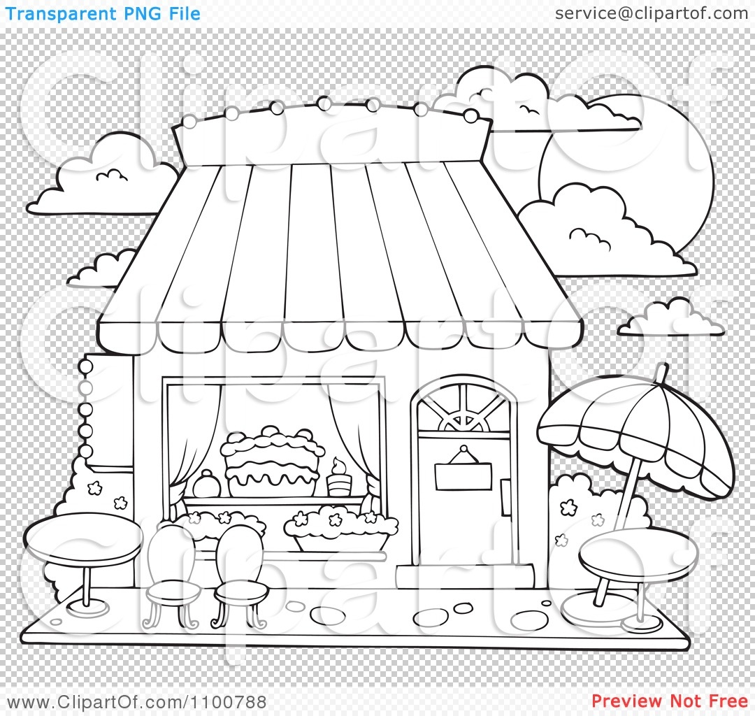 Clipart Outlined Cake Or Candy Shop With Outdoor Seating Royalty Free Vector Illustration By Visekart 1100788