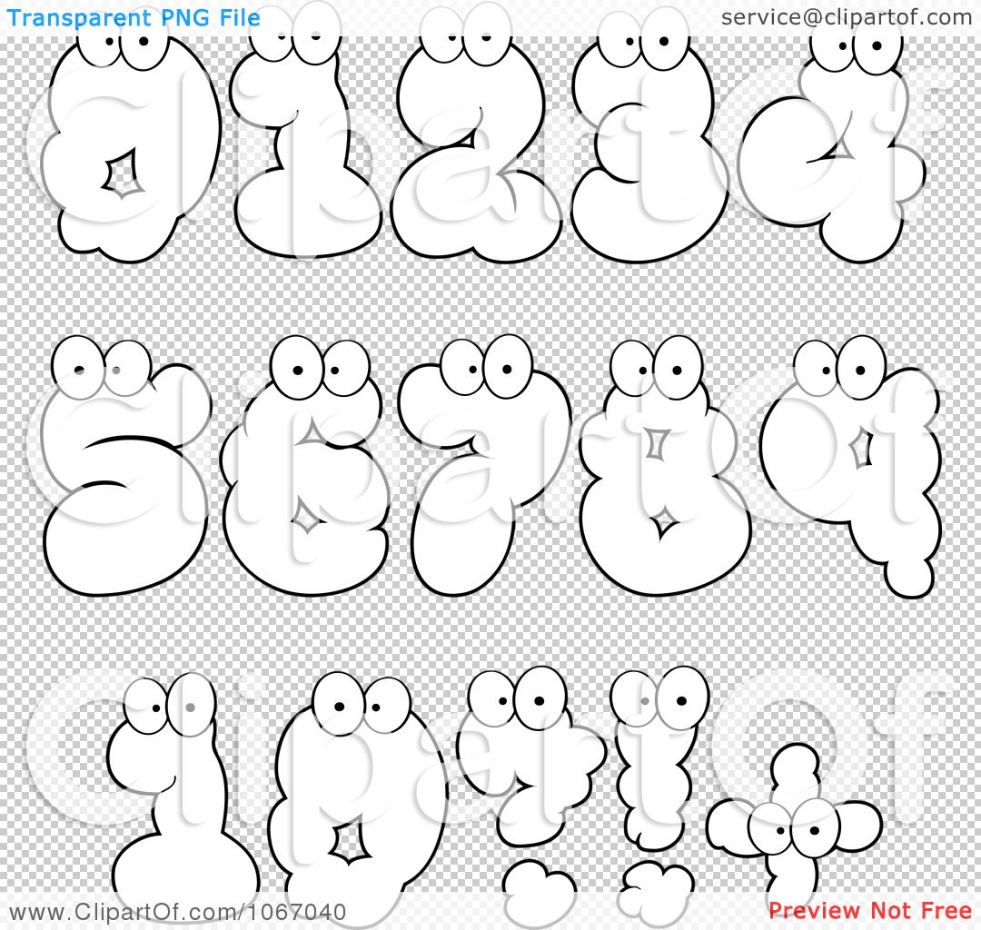 Clipart Outlined Cloud Numbers - Royalty Free Vector ...