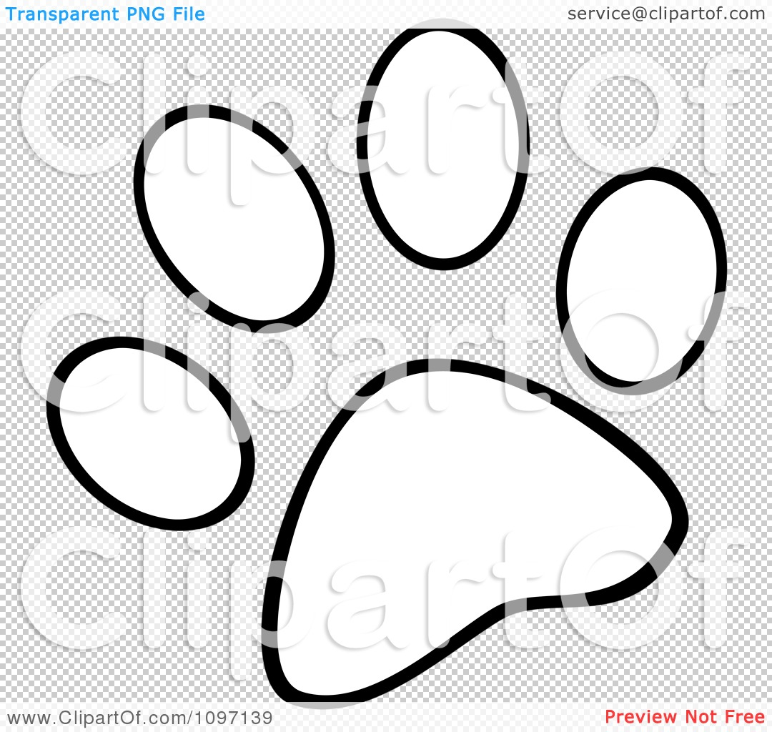 Clipart Outlined Dog Paw Print - Royalty Free Vector Illustration by ...