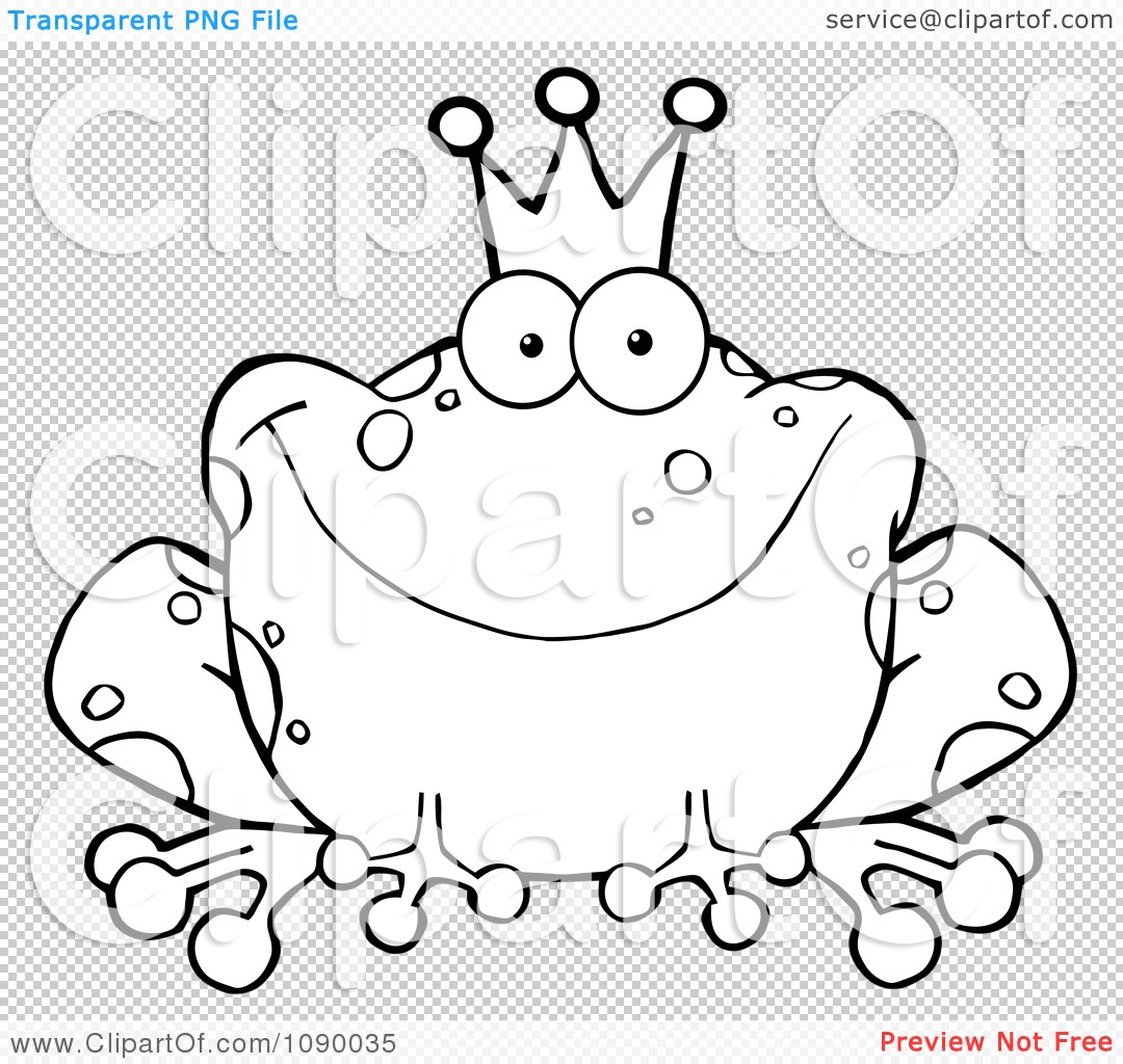 Clipart Outlined Fairy Tale Frog Prince Wearing A Crown - Royalty ...