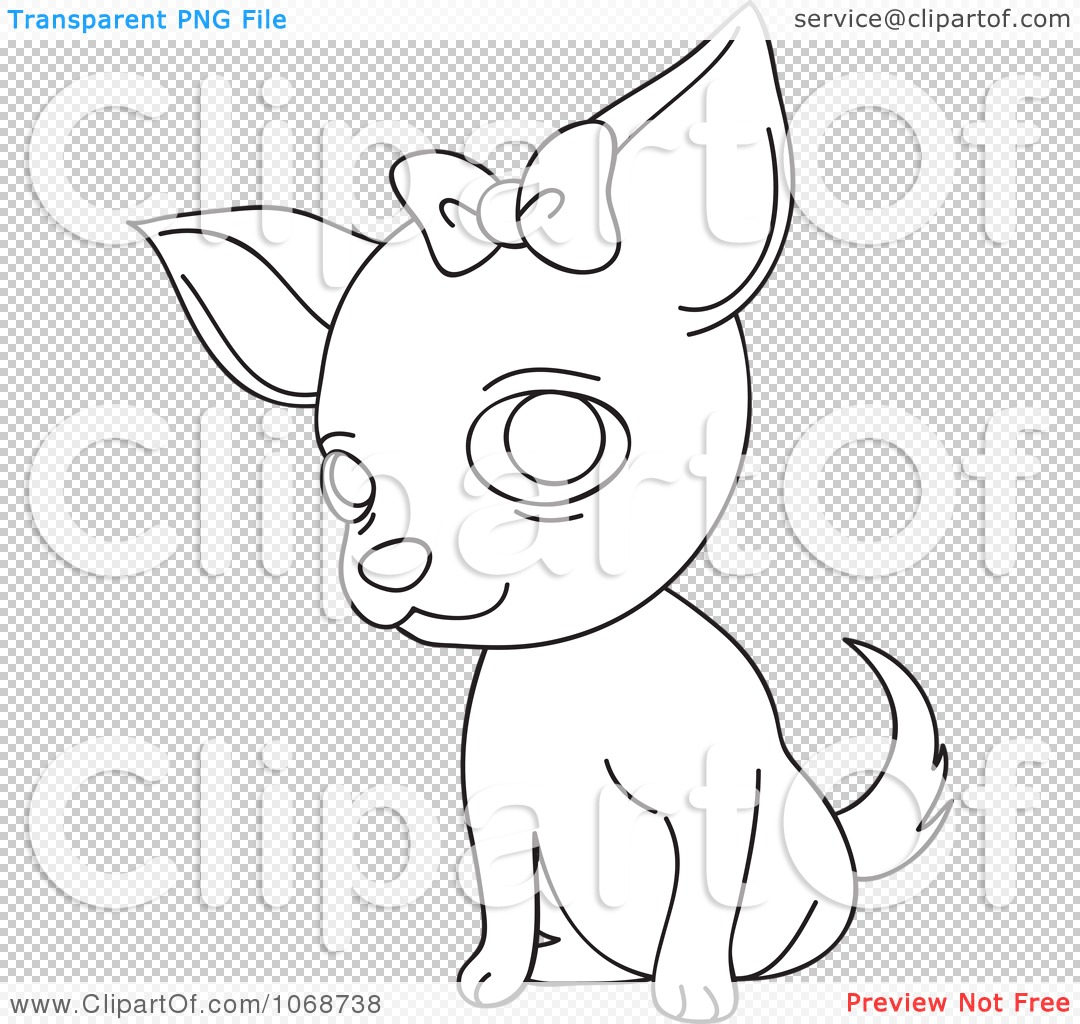 Clipart Outlined Female Chihuahua With A Bow Royalty