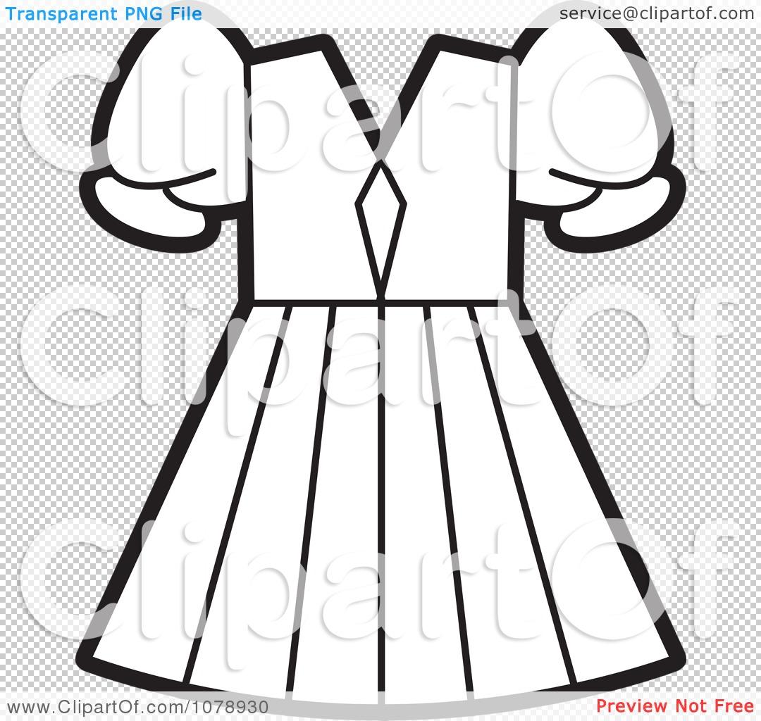 Clipart Outlined Girls Dress Royalty Free Vector