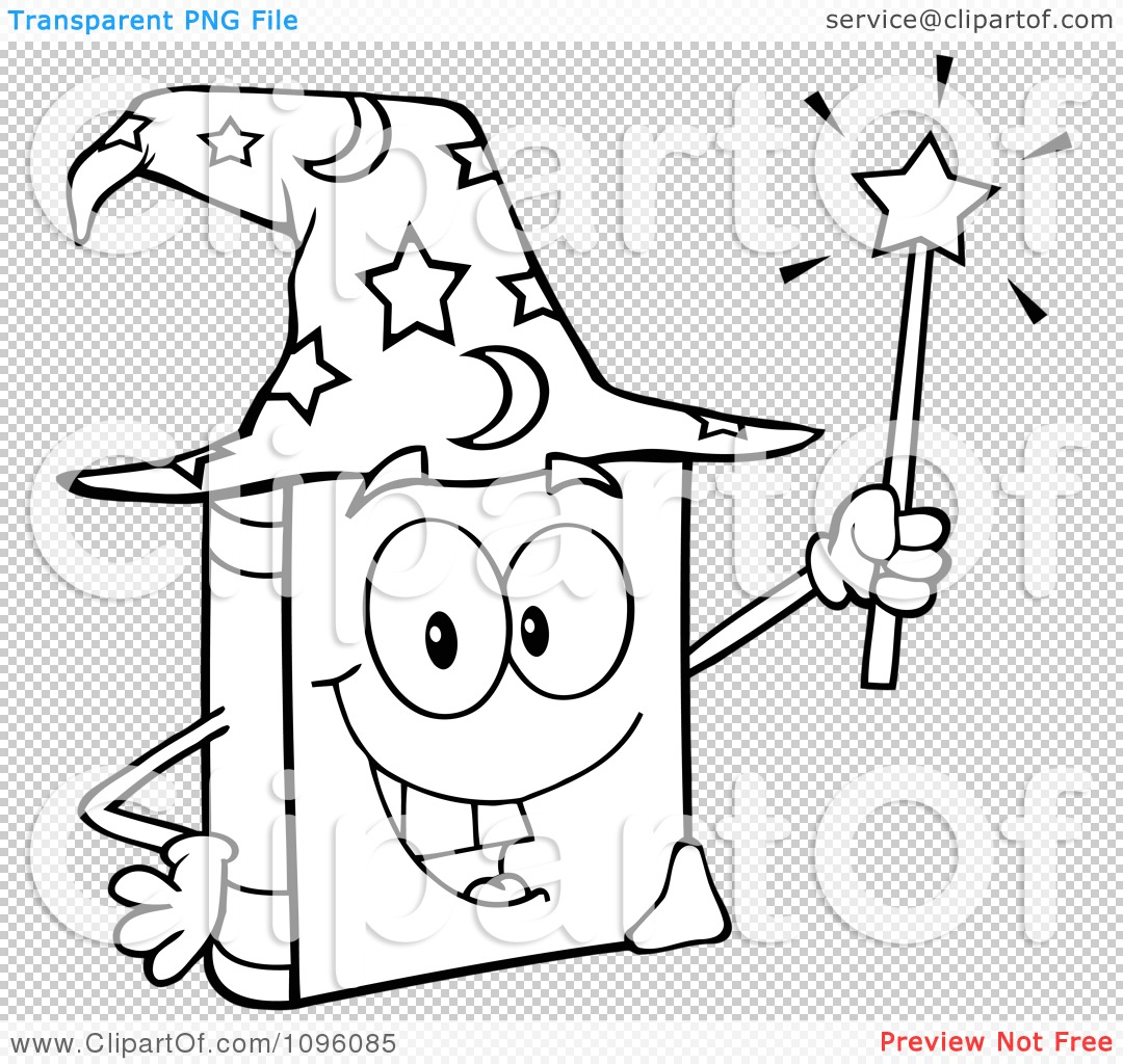Clipart Outlined Happy Spell Book With A Wizard Hat And Magic Wand ...