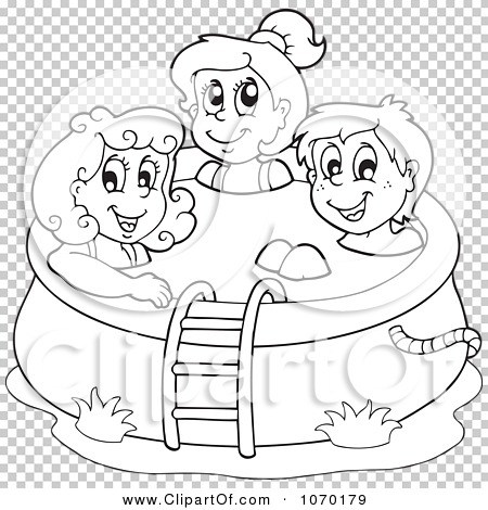 Clipart Outlined Kids In A Swimming Pool