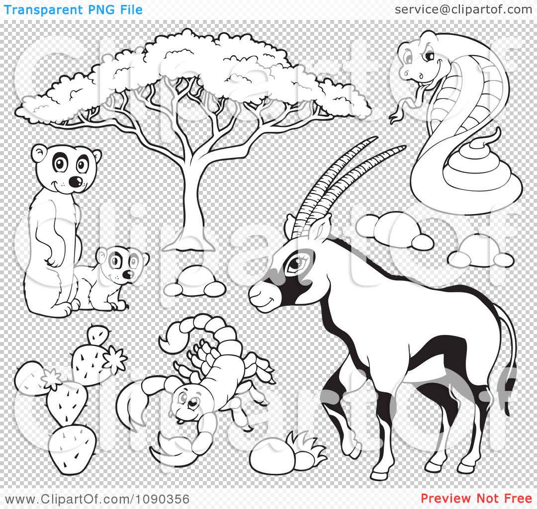 Clipart Outlined Meerkat Scorpion Cobra And Gazelle Savannah Wildlife Royalty Free Vector Illustration 10241090356 Free Funny Pictures Adult Humour Jokes And Online Games