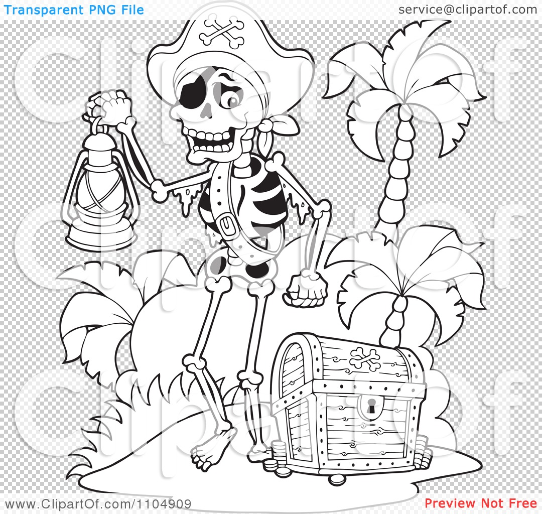 clipart outlined skeleton pirate carrying a lamp on a beach with a