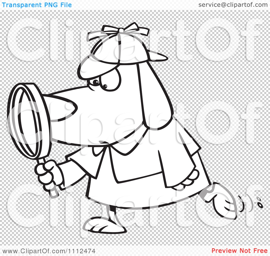 Clipart Outlined Sleuth Dog Using A Magnifying Glass - Royalty ...