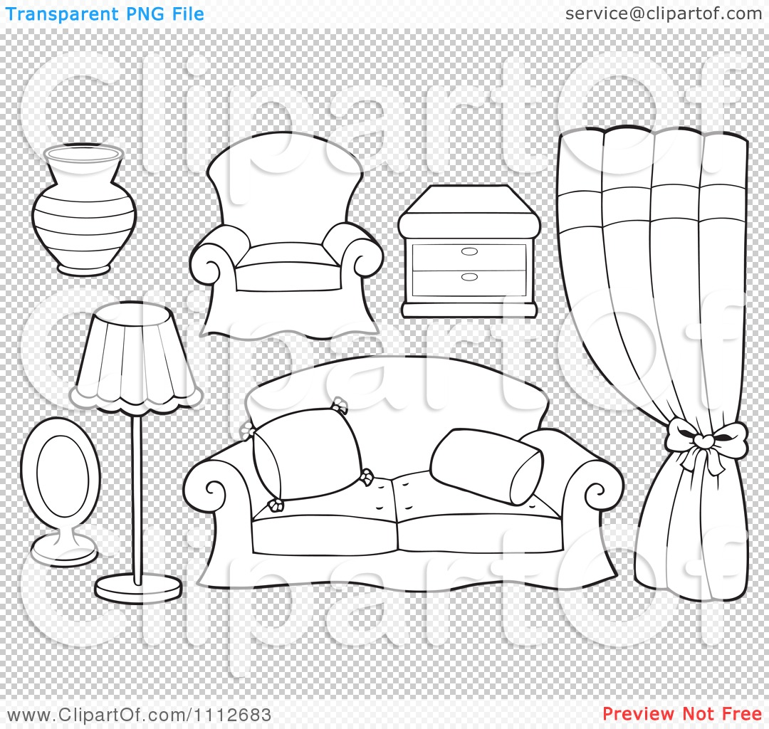 Clipart Outlined Vase Chair Table Curtains Couch Lamp And