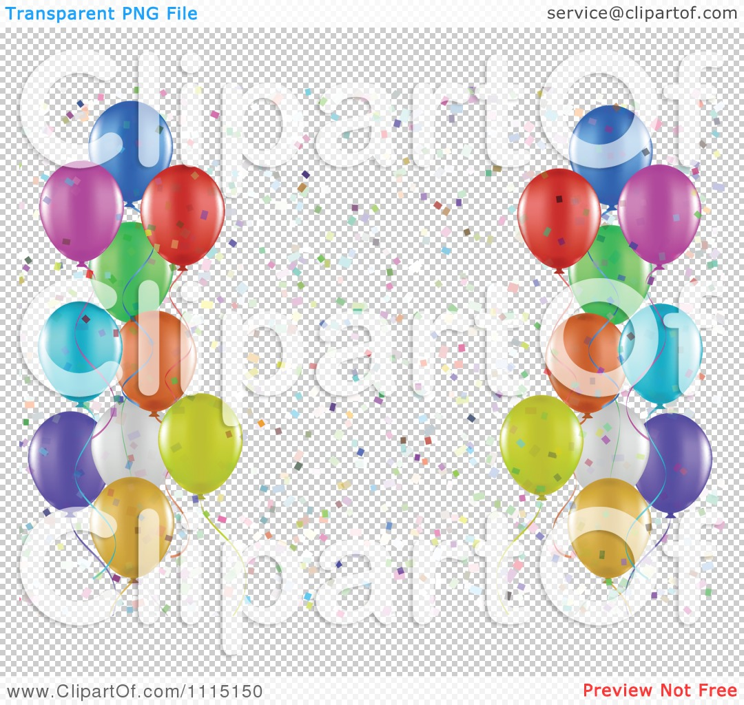 clipart party background of colorful party balloons and confetti on