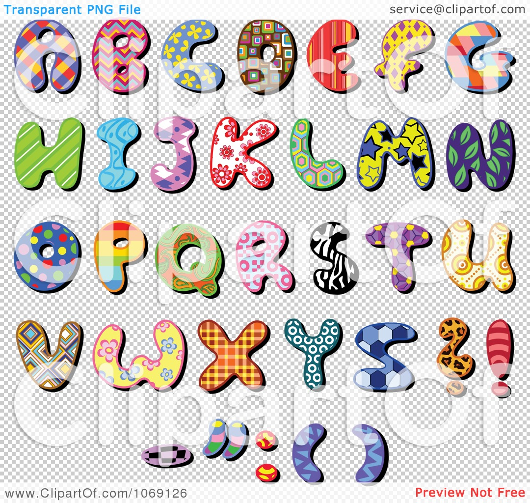 clipart patterned capital letters