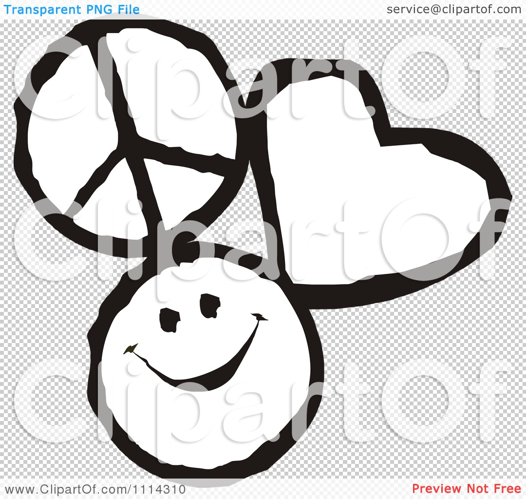 Clipart Peace Love And Happiness Icons In Black And White ...