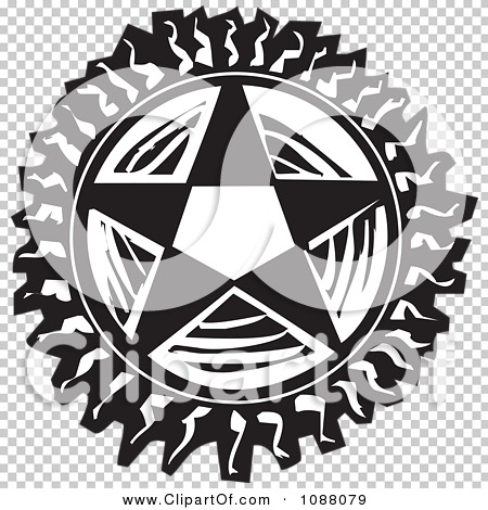 Clipart Pentagram Star Black And White Woodcut - Royalty Free ...