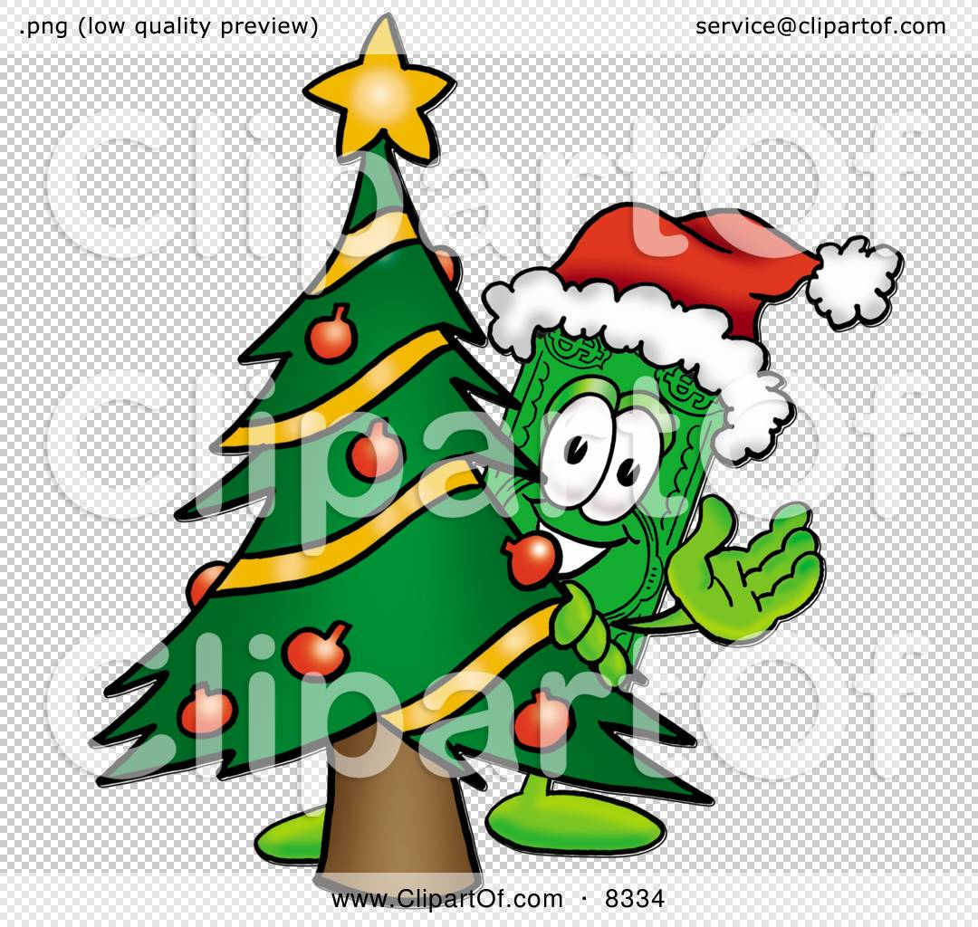 Christmas Tree Bill.Clipart Picture Of A Dollar Bill Mascot Cartoon Character