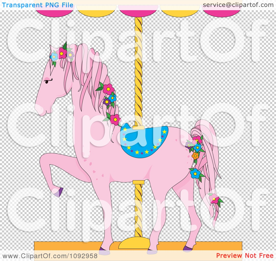 Clipart Pink Carousel Horse With Flowers - Royalty Free Vector ...