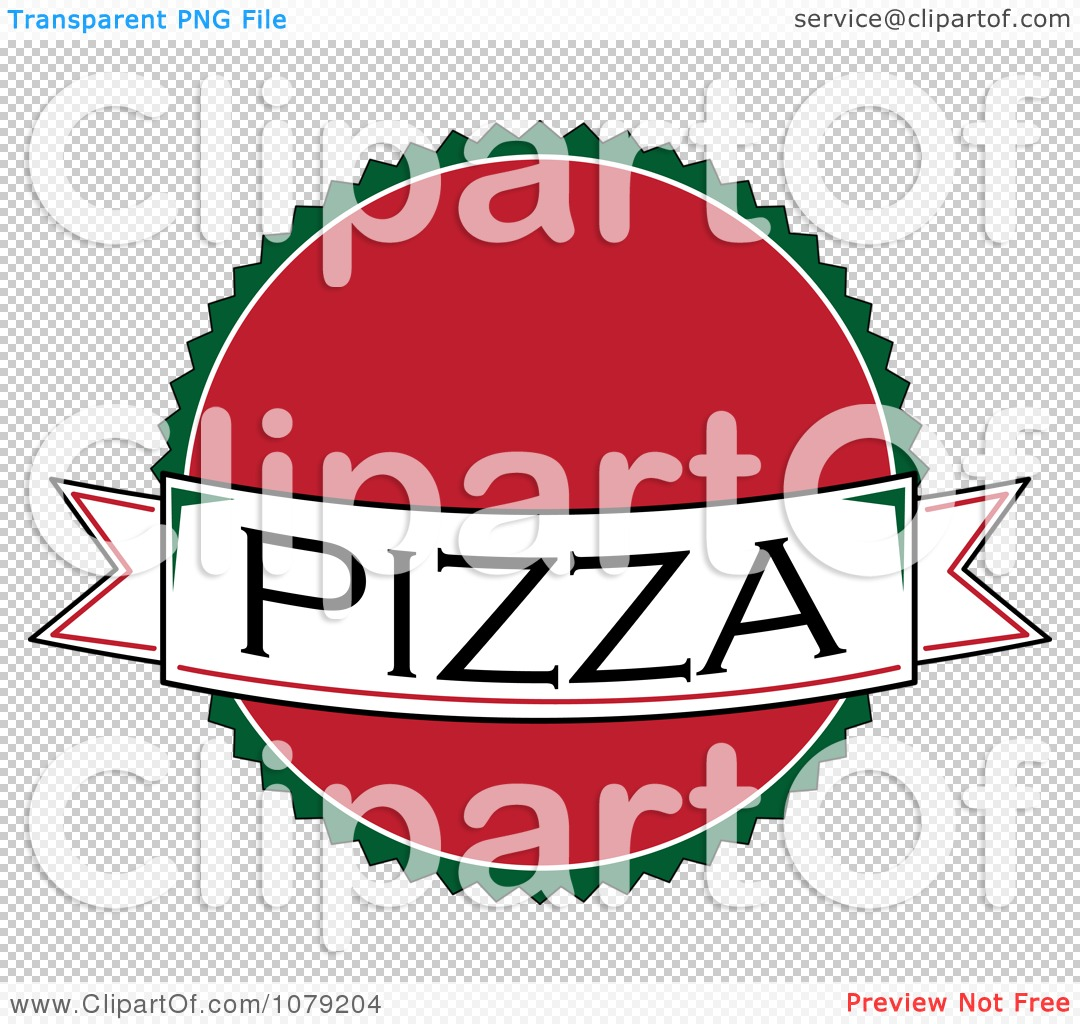 Clipart Pizza Banner Over A Red Circle Logo - Royalty Free