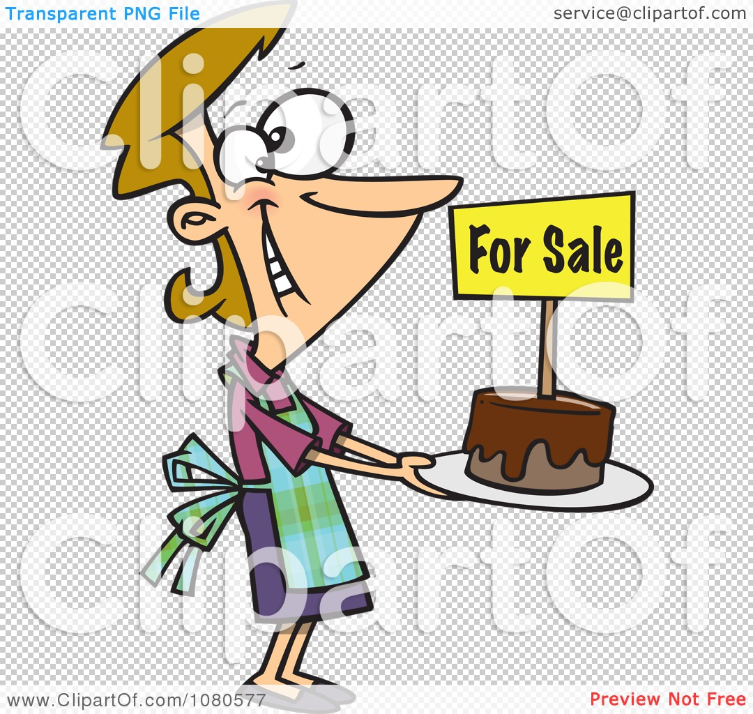 clipart pleased bake sale woman holding out a cake royalty free rh clipartof com bake sale clip art images free bake sale clip art images