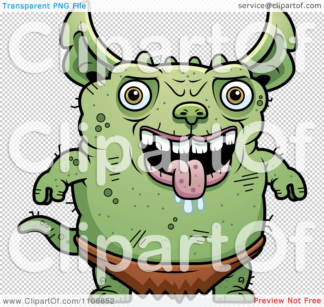 clipart pudgy green gremlin royalty free vector illustration by
